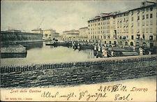 Livorno Italien Italia Toskana AK 1901 Scali delle Cantine Hafen Häuser Boote