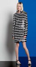 MICHAEL KORS BLACK & WHITE STRIPE SEQUIN LONG SLEEVE DRESS SIZE MED WOMENS