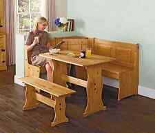 Kitchen Corner Table Set SOLID Wooden Bench Dining Nook Breakfast Seating Rustic