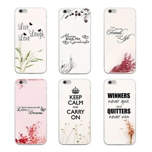 Life Quotes Printed Silicone Rubber Gel Back Case Cover Various Mobile Phones