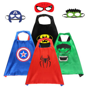 CHILD SUPERHERO CAPE WITH MASK COSPLAY PARTY FANCY DRESS KIDS BOYS COSTUME GIFTS
