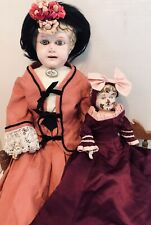 "Antique Minerva Germany Tin 19"" & 11"" doll Set"