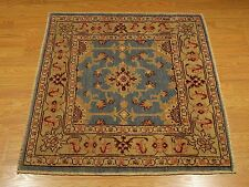 3 x 3.3 Handmade Vegetable Dye Hand Spun Wool Afghan Caucasian Square Area Rug