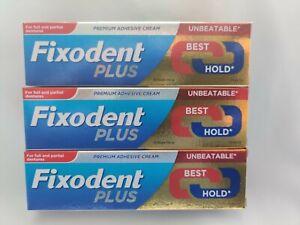 3 x Fixodent Plus Dual Power Best Hold 40g Denture Premium Adhesive Cream Strong