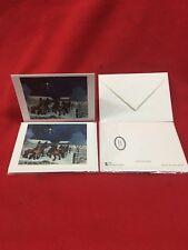 2 Blank Winter Xmas Holiday Note Card Envelope Harald Wiberg Horses Sweden new!!