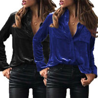 UK Womens Chic Winter Velour Velvet Long Sleeve Blouse T Shirt Ladies Lapel Tops