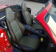 MAZDA MIATA 2001-2005 BLACK/CHARCOAL VINYL CUSTOM MADE FIT FRONT SEAT COVERS