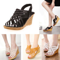 Womens Lady Sandals Caged Peep Toe High Heels Platform Wedge Slippers Shoes Size