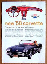 MAGAZINE AD ~ 1958 CORVETTE