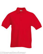 Tamaño 5-6 años Fruit of the Loom Rojo Niños Childrens de manga corta camisa de Polo Nuevo