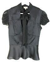 Karen Millen black silk blouse with necktie - 6