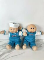 Vintage 1985 Cabbage Patch Doll Bald Twins With Blue Knit Overalls