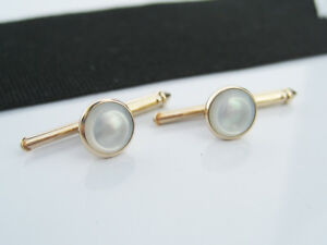 Antique Art Deco Larter & Sons 10K Gold & MOP Shirt Stud Buttons Mother of Pearl