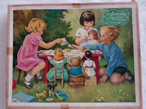 Vintage Victory Hand Cut Wood 100 Piece Dolls Tea Party Jigsaw Puzzle Series P 3