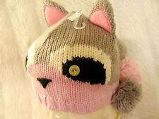 Girls Neko Cute Grey & Pink Raccoon Woodland Animal Ears & Pom Poms Beanie Hat