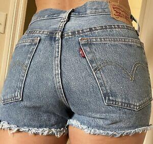 Levis Womens 501 Original Cutoff Shorts Distress Medium Wash Button Fly Sz 25