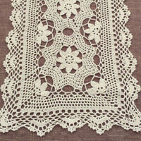 Hand Crochet Floral Table Runner Beige/Ecru Vintage Flower Lace Doily 15X60inch