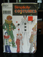 Simplicity 9801 Girl's & Boy's Clown Costumes & Hat Pattern - Sizes 2-4 & 6-8