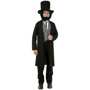 Abe Lincoln Abraham President Black Fancy Dress Halloween Deluxe Child Costume