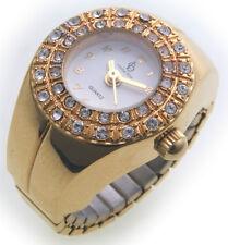 Ring Uhr Fingeruhr Strass Gold farben vergoldet Qualität Flexband weiß Ringuhr