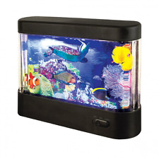LED Living Aquarium Moving Sealife Scene Mood Night Light Battery Operated Black