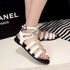 Khoee AW0128 Flat Lace Up Leg Strappy Gladiator Fashion Sandals (white)  SIZE 36