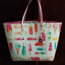 Kate Spade Francis Ice Cream Popsicle Large White Multi Color Tote Bag Purse