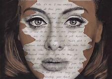 Adele original portrait dessin avec bonjour lyrics-A4 taille signé art 25 album