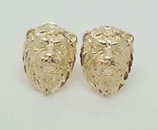 14k Solid Yellow Gold Lion Head Leo Stud Earrings Women/Children Push Back
