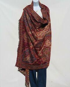 Yak+Sheep Wool Blend|Shawl/Throw|Handloomed| Kashmiri|Color: Red/Blue/Khaki/Sand