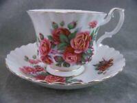 English Royal Albert China Centennial Footed Rose Teacup & Saucer Gold Trim