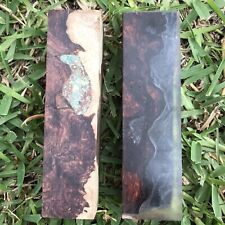 2 Honduran Rosewood Burl Blocks , One With Turquoise, Other Clear Cast $82 Both
