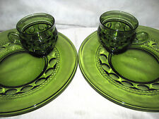 2 Indiana Glass Green King's Crown Thumbprint Snack Plates with Cups