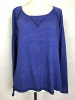 Miss Me Woman's Blue embroidered, lace open back Long sleeve Top  Size medium