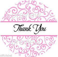 Pink Swirls Design 115 Thank You Sticker Labels Laser Printed