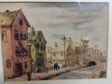 """American Street Scene"" Original Watercolor Painting Listed Artist Henry Gasser"
