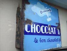 ancienne plaque emaillée potence double face chocolat lanvin