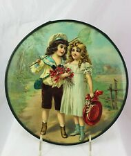 Antique Victorian Flue Cover Scene Boy & Girl Red Poppies Catching Butterflies