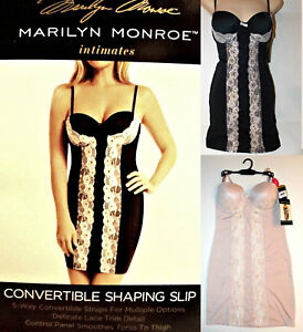 NWT Marilyn Monroe Convertible Shaping Slip with Kissing Lace, M,L,1X