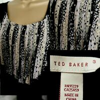 TED BAKER STRETCHY SLEEVELESS TOP UK 12/14 BLACK LILAC MIX LONGLINE SUMMER
