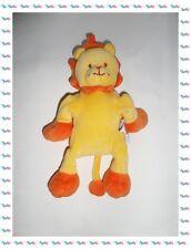 H - Doudou Peluche Lion Orange Jaune Sucre d'Orge