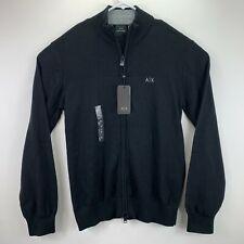 Armani Exchange Mens Full-Zip Cotton Cardigan Sweater Black M