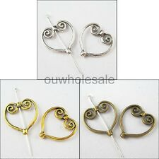 40pcs Spacer Beads Charms Tibetan Silver Heart Wing Frame Silver/Golden/Bronze