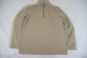 Tommy Hilfiger 1/2 Zip Mock Neck Cold Gear Pullover Men L NEW Beige