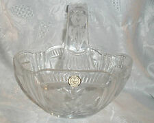 CRYSTAL CLEAR POLAND 24% LEAD HANDLED BASKET W/ FLORAL FROSTED DESIGN