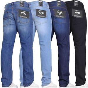 Mens Straight Leg Jeans Stretch Denim Regular casual Blue Black