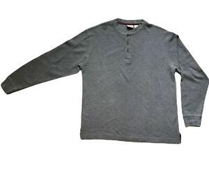 LL Bean Henley Thermal 1/4 Button Up Long Sleeve Shirt Pullover Mens Medium Gray