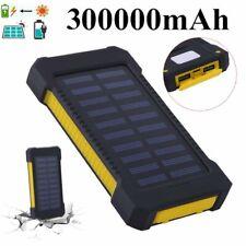 Waterproof 300000mAh Portable Solar Panel Battery Dual USB Power Bank Charger