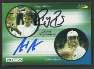 2010 Ace Authentics Tennis Roger Federer Andre Agassi Dual AUTO 20/25