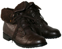 LADIES BROWN LACE UP MILITARY STYLE BOOT WITH FUR COLLAR IN SIZE 6